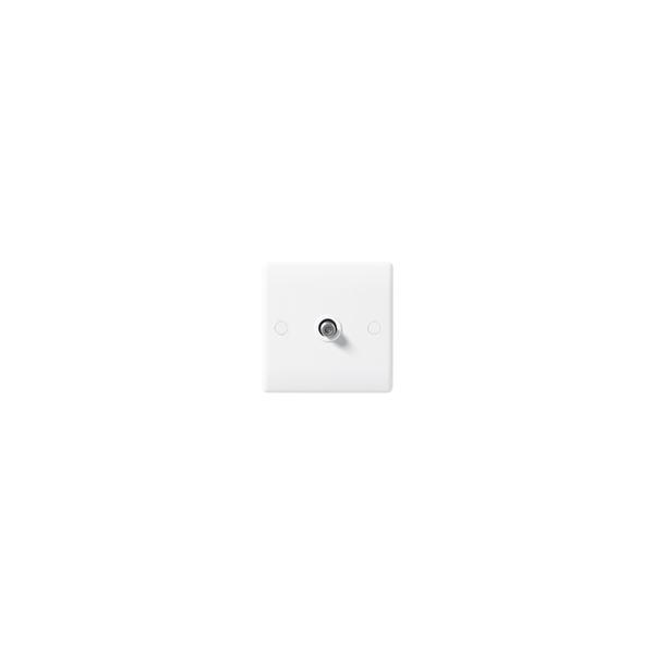 BG Nexus White Round Edge - 1 Gang Satellite Socket.