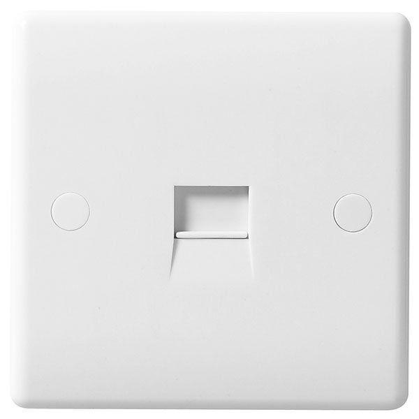 BG Nexus White Round Edge - 1 Gang telephone Master Socket.