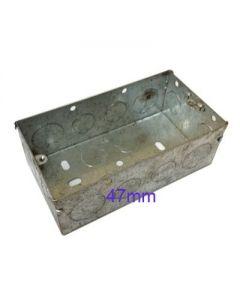 CONTACTUM, 2 Gang 47mm Galvanised, Metal Steel Flush Back Box.