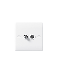 BG Nexus White Round Edge - 2 Gang Satellite & Co-axial Socket.