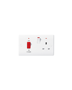 BG Nexus White Round Edge 45A Cooker Unit with 13A Socket and Neon.