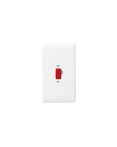 BG Nexus White Round Edge 45A 2 Gang Plate, Double Pole Switch.