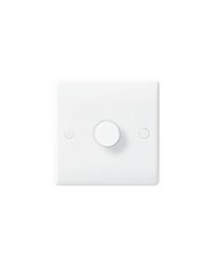 BG Nexus White Round Edge Dimmer Switch - 1 gang, 2 way push 400W