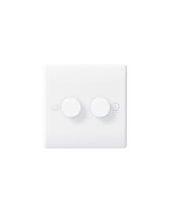 BG Nexus White Round Edge Dimmer Switch - 2 gang, 2 way push 400W