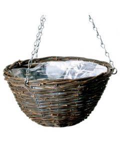 """Black Rattan Hanging Basket - 12"""" Round"""