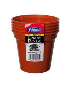 Whitefurze 12.7cm (5 inch) Heavy Duty Terracotta plant pots - Pack of 5.