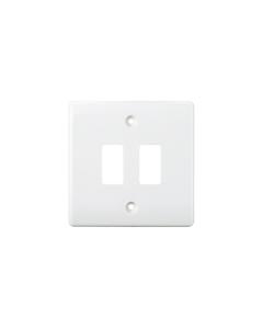 BG Nexus White Grid - 2 Gang Front Plate.