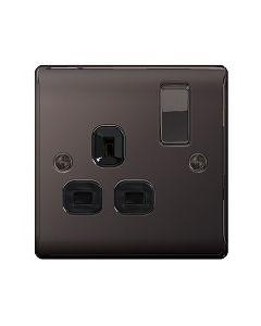 Nexus Black Nickel, Single Switched Socket (Black Insert)
