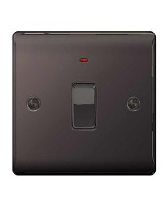 Nexus Metal Black Nickel, 20A Double Pole switch with neon (power indicator).