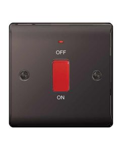 Nexus Metal Black Nickel, 45A DP switch, Single Plate switch with power indicator (neon).