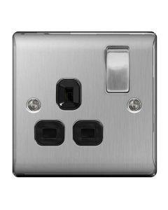 Nexus Brushed Steel, Single Switched Socket (Black Insert)