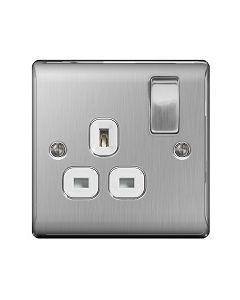 Nexus Metal Brushed Steel Single Switched Socket (White insert)