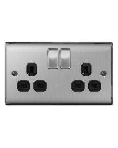 Nexus Brushed Steel Dual Switched Socket (Black Insert)