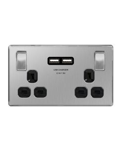 Nexus Metal Brushed Steel, Dual Switched Socket with 2 USB Chargers (2.1A) and  Black Insert.
