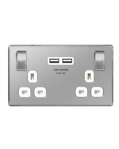 Nexus Metal Brushed Steel, Dual Switched Socket with 2 USB Chargers (2.1A) and  white Insert.