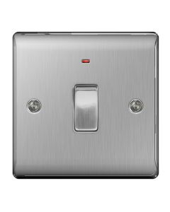 Nexus Metal Brushed Steel, 20A Double Pole switch with neon (power indicator).