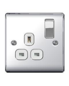 Nexus Polished Chrome Single Switched Socket (White insert)