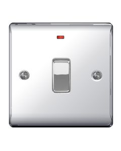 Nexus Metal Polished Chrome, 20A Double Pole switch with neon (power indicator).