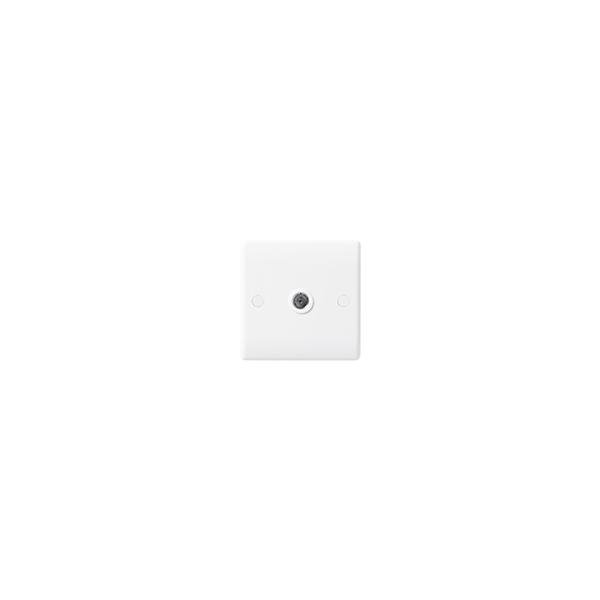 BG Nexus White Round Edge - 1 Gang Co-axial Socket.
