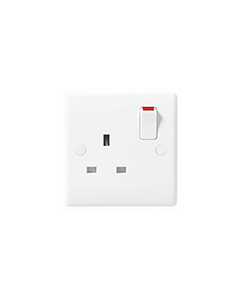 BG Nexus White Round Edge 13A 1 Gang, Single Switched socket.