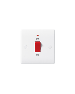 BG Nexus White Round Edge 45A 1 Gang Plate, Double Pole Switch, with Neon.