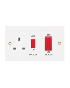 SELECTRIC SQUARE, 45A Cooker Unit with 13A Switched Socket - Red Rockers.